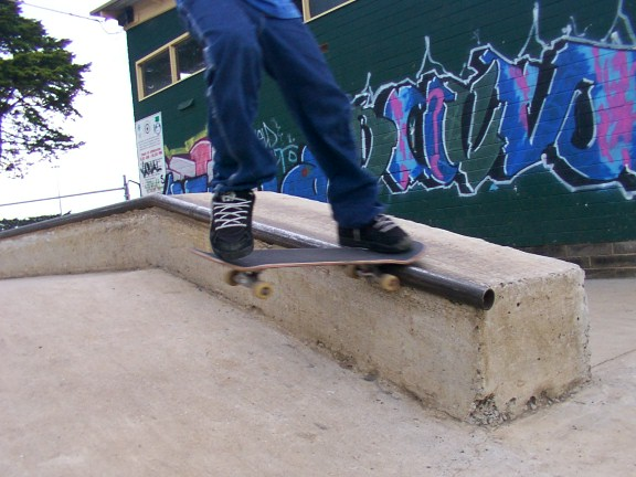 Noseslide down box at Cowes Skate Park Skater: Trav Gains